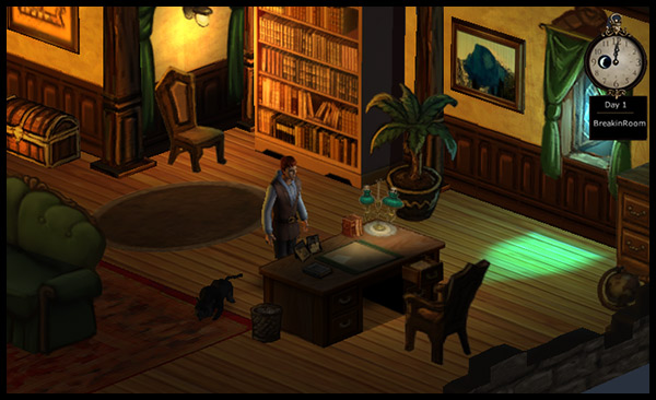 Hero-U Break-in House Examining the Desk Screenshot